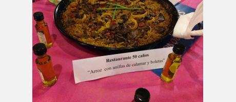 """Restaurante 50 caños """"Arroz con anillas de calamar y boletus"""""""