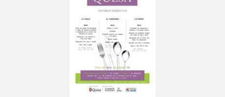 Cartel Jornadas Gastronómicas en Quesa con tenedor, cuchillo y dos cucharas