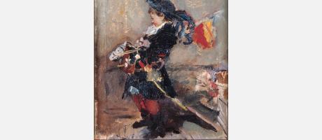 Pintura de Pinazo representando a un niño de época