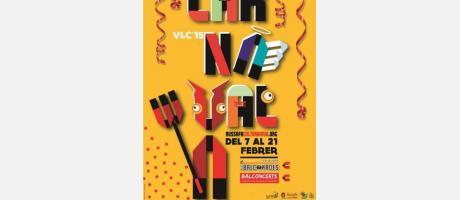 Cartel del Carnaval Russafa CulturaViva en color amarillo y un dimoni