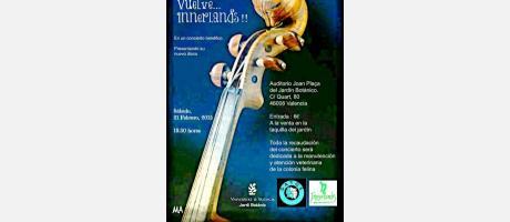 Cartel concierto solidario gatos del Jardín Botánico con un instrumento felino