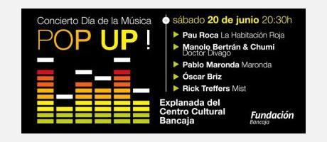Cartel del Día Internacional de la Música en Valencia en color negro