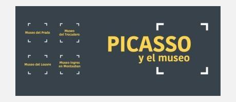 Cartel promocional de la exposición Picasso y el museo en tonos gris y amarillo