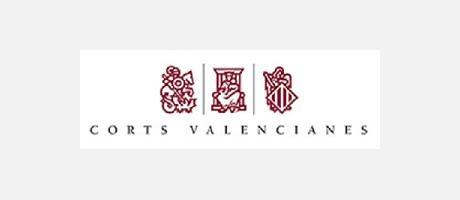 Los tres escudos del logo de les Corts Valencianes