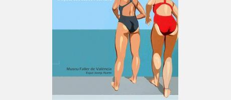 Cartel anunciador de la exposición donde se ve a dos mujeres con traje de baño