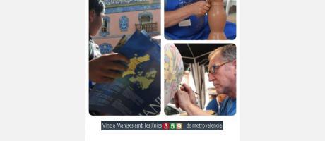 Varios artesanos torneando y pintando en la Festa de la Ceràmica de Manises