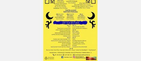 cartel anunciador en amarillo y azul con las actividades