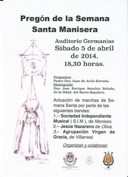 Pregón de Semana Santa Manisera 2014