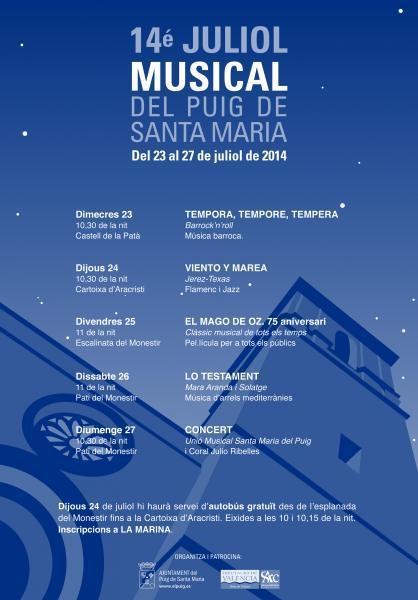 14é JULIOL MUSICAL del Puig de Santa Maria