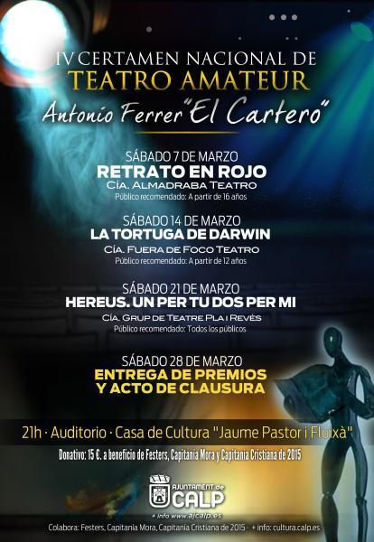 """IV Certamen Nacional de Teatro Amateur """"Antonio Ferrer, el Cartero"""""""