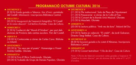 Festividad 9 Octubre: Programación Octubre Cultural 2016