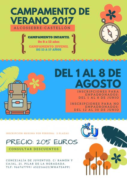 Campamento de verano infantil y juvenil en Alcossebre (Castellón) en Pilar de la Horadada 2017