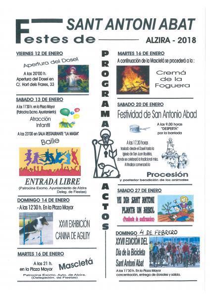 Festes de Sant Antoni Abat Alzira 2018