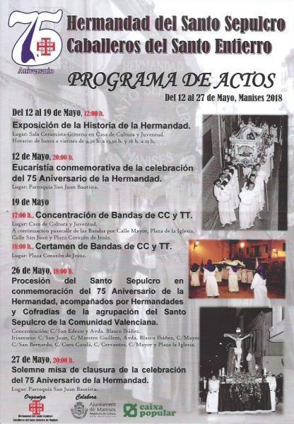 75 Aniversario Hermandad Santo Sepulcro. Manises 2018.