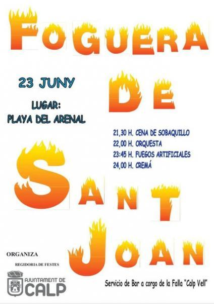 Foguera de Sant Joan en la Playa Arenal Calp 2018