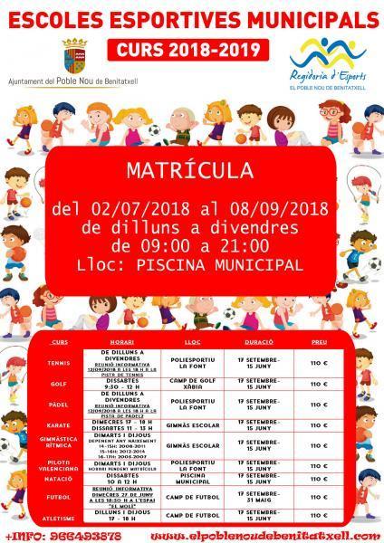 Escuelas deportivas municipales. Curso 2018-2019