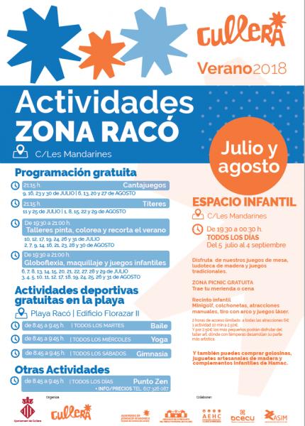 ACTIVIDADES ZONA RACÓ CULLERA VERANO 2018