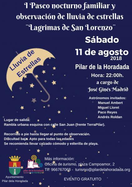 """I Paseo nocturno familiar y observación de lluvia de estrellas """"Lagrimas de San Lorenzo"""" en Pilar de la Horadada 2018"""