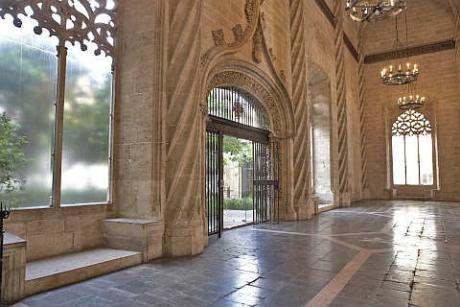 Imagen del salón de contratación de la Lonja de la Seda de Valencia